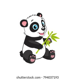 Little Funny Bear Panda Vector Image On A White Background. Cartoon Panda Eats Bamboo Branch Vector Illustration. Panda Bear Costume.