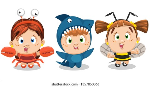 Little funny boy and girls dressed like bee, crab, crawfish, shark. Children`s entertainment, carnival, costume party, drama, theatre school. Cartoon set isolated on white background.