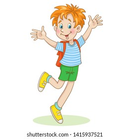 Little funny boy runs to school with a backpack.  In cartoon style. Isolated on white background.