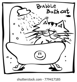 little funny cartoon cat in bath. Illustration for kids bubble bath. Coloring book sketch kitty. Marker outline print with infantile happy smiling doodle tomcat.