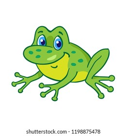 Little funny cartoon frog is sitting. Isolated on a white background