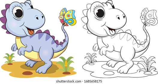 Little funny dinosaur and butterfly coloring book