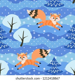 Little funny foxes frolic in the winter forest among the snow-covered trees. Seamless pattern in vector.