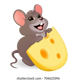 A little funny mouse with a stolen piece of cheese. The gray mouse wants to eat a piece of cheese with big holes. Cheerful illustration of animals for children. Vector, isolated,