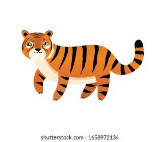 Little funny tiger vector cartoon