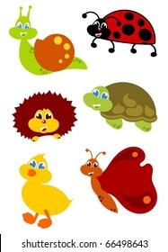little garden animals icon set