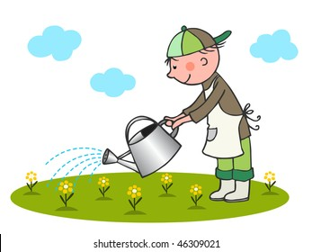 Little gardener - vector