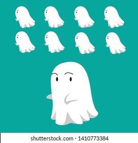 Little Ghost Cute Floating Animation Sequence Cartoon Vector