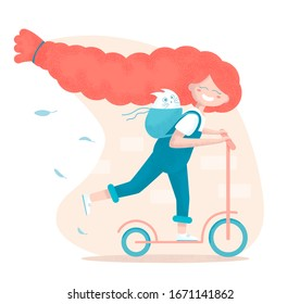 A little ginger girl with long hair braid is riding a scooter with a white cat in her backpack. Vector illustration in cartoon style.