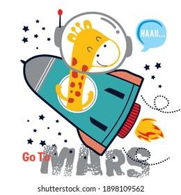 little giraffe on the rocket funny animal cartoon,vector illustration