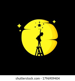 A little girl aim for the stars logo