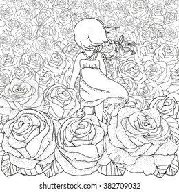 Little girl alone. Many roses. Wind blows. Pattern for coloring book. Floral, retro, doodle, vector, design element. Black and white background. Zentangle