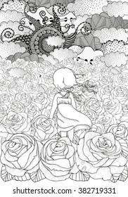 Little girl alone. Many roses. Black and white abstract fantasy picture. Wind, clouds, sun. Eco theme. Pattern for coloring book. Floral,  doodle, vector, design elements. Zentangle