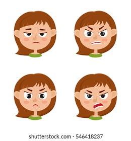 Little girl angry face expression, set of cartoon vector illustrations isolated on white background. Set of kid emotion face icons, facial expressions.