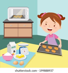 Little girl baking buns. Cheerful girl baking buns.