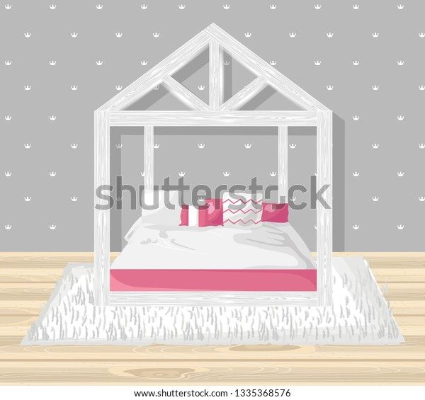 Little Girl Bedroom Vector Flat Style Stock Vector Royalty Free