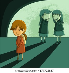 little girl being bullied by other girls