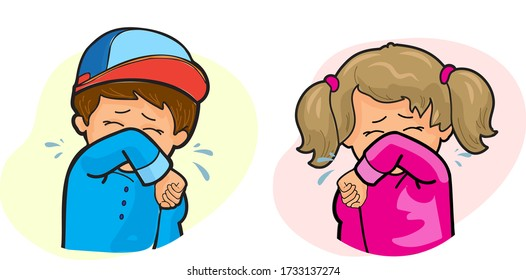 sneeze drawing images stock photos vectors shutterstock https www shutterstock com image vector little girl boy coughing into elbow 1733137274