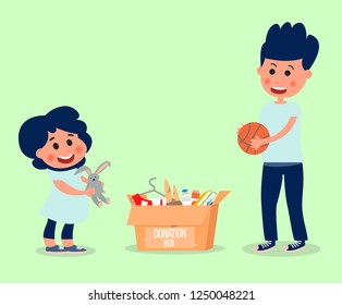 Little girl and boy donate toys.Children do a good deed.Vector illustration