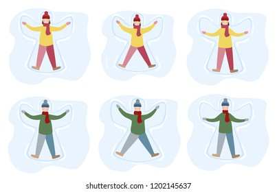 Little girl and boy enjoy first snowfall. Kids making snow angel cartoon illustration. Winter entertainment. Flat style vector illustration isolated on white background.