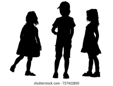 Little girl and boy on a white background