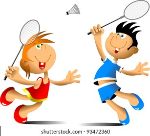 little girl and boy playing badminton (vector illustration);
