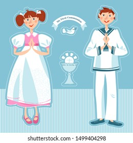 Little girl and boy pray at the First communion.  Vector illustration