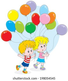 Little girl and boy walking with colorful holiday balloons