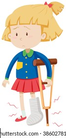 Little girl with broken leg illustration