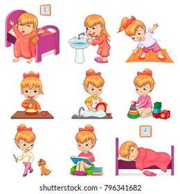 Little girl brushes teeth, exercises in morning, eats porridge, washes dishes, plays with toys and dog, reads books and sleeps vector illustrations.