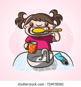 Little girl brushing her teeth in the morning. Cartoon illustration teeth care concept for kids.