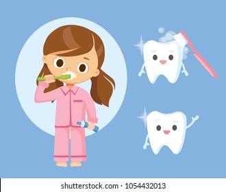 Little girl brushing teeth