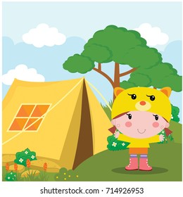 little girl was camping out in camp cartoon character