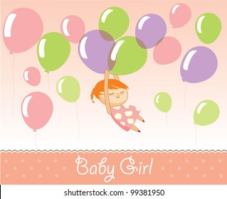 Little girl carried away with balloons