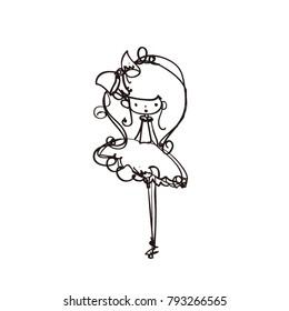 little girl cartoon look vector file , with hair bow, tutu dress