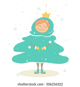 Little girl child in a festive Christmas tree costume enjoys the snow