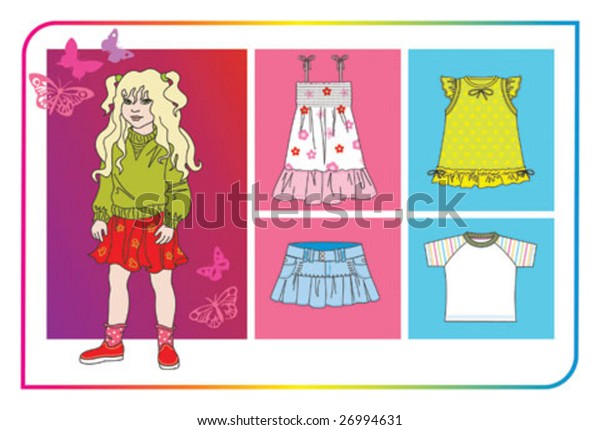little girl with collection clothes for summer