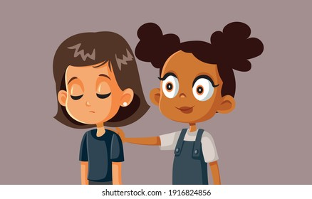 Little Girl Comforting her Sad Best Friend. Young kid showing empathy consoling and encouraging her friend