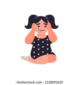 Little girl covers her ears not to hear parents quarrel. Child is sitting on the floor and crying. Unhappy childhood concept. Childrens traumatic experience. Misbehavior of parents