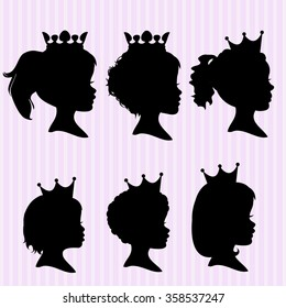Little girl with a crown silhouettes