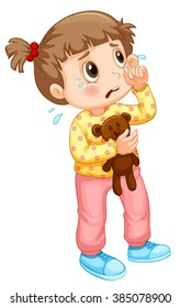 Little girl crying with tears illustration