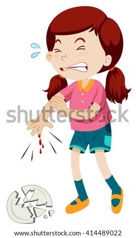 little girl cut her finger illustration stock vector royalty free