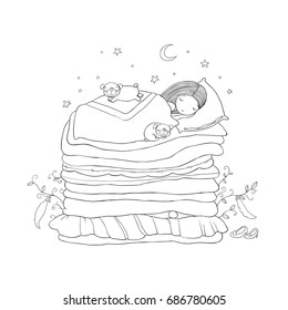A little girl and cute pugs are sleeping on the bed.Good night. Sweet dreams. Vector illustration. bed time. Princess and the Pea. Isolated objects on white background.