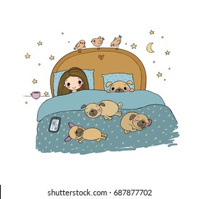 A little girl and cute pugs are sleeping on the bed. Good night. Sweet dreams. Vector illustration. bed time. Isolated objects on white background.