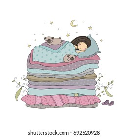 A little girl and cute pugs are sleeping on the bed. Good night. Sweet dreams. Vector illustration. bed time. Isolated objects on white background. Happy dogs. Princess on the Pea