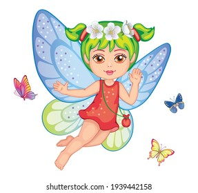 A little girl. Cute small fairy. Beautiful Elf princess. Set butterflies with colorful wings on white background. Toy or doll. Children's isolated illustration for print or sticker. Wonderland. Vector