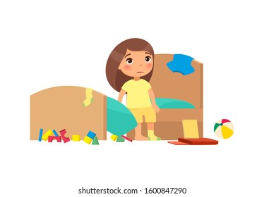 Little girl in dirty apartment cartoon character. Unhappy child in unkempt room isolated on white background. Upset kid in messy bedroom flat vector illustration. House chores, cleanup