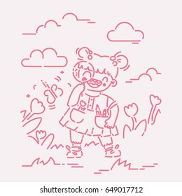 Little girl discovering nature with magnifying glass vector illustration, flat line style