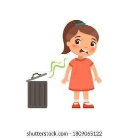 Little girl does not like the bad smell from the trash can. Expression of emotion on the face of a child. Cartoon character
