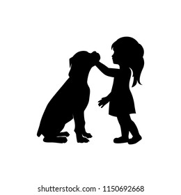 little girl and dog, logo icon